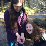 My kids with the first salamander we found on this trip!