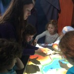 My daughter, augmented reality sandbox in the museum