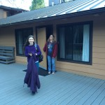 My daughter and I outside our cabin.